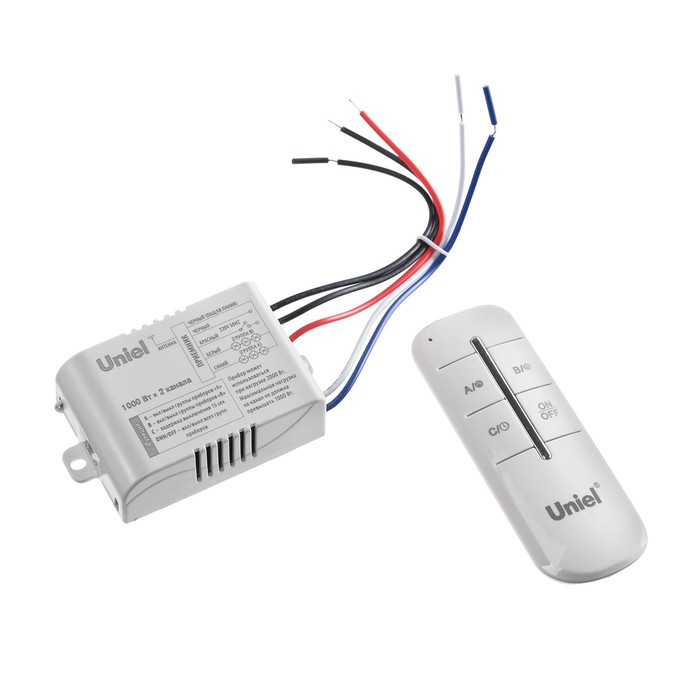 Пульт управления светом Unie UCH-P005-G2-1000W-30Ml, 2 канала х 1000 Вт, радиус действия 30м