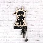 """Ключница """"Символ года 2021. Бычок"""", 3 крючка металлических, белая чёрная, 10×16.5 см"""