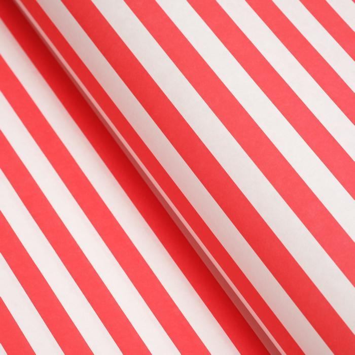 Бумага упаковочная, Полоски, крафт, красная, 50 х 70 см