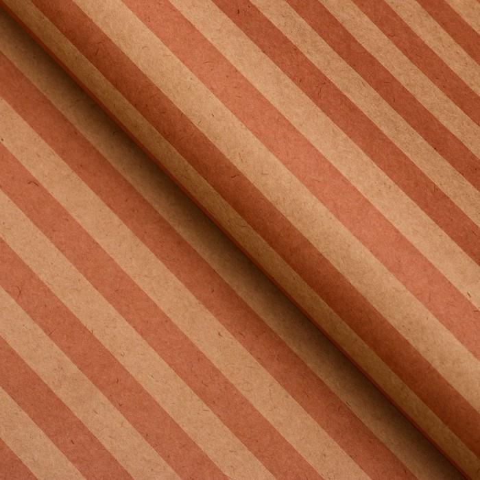 Бумага упаковочная, Полоски, крафт, розовая, 50 х 70 см
