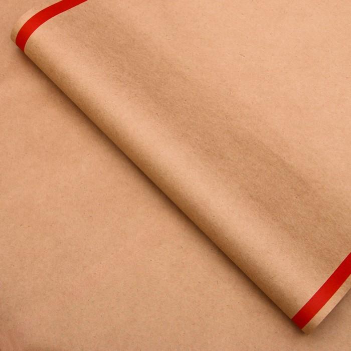 Бумага упаковочная, Рамка, крафт, красная, 50 х 70 см