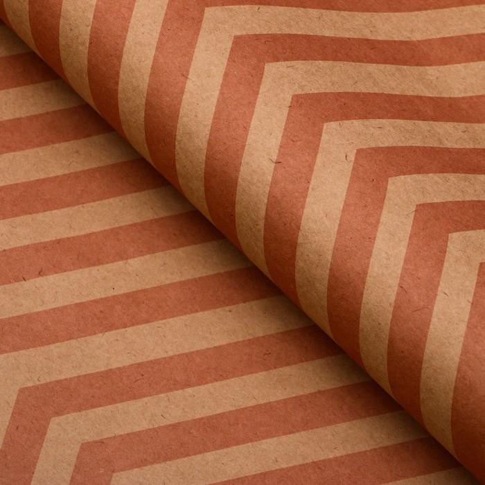 Бумага упаковочная, Зиг-Заг, крафт, розовая, 50 х 70 см