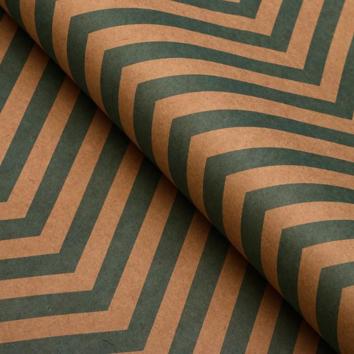 Бумага упаковочная, Зиг-Заг, крафт, зеленая, 50 х 70 см