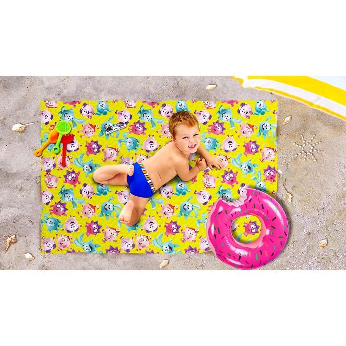 Пляжное покрывало «Веселые смешарики», размер 90 × 140 см
