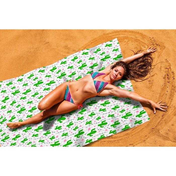 Пляжное покрывало «Влюбленные кактусы», размер 145 × 200 см