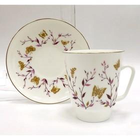 Чашка с блюдцем «Розовые веточки», 165 мл