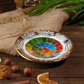 Тарелка декоративная 'Элиша' керамика 14х14х3 см Ош