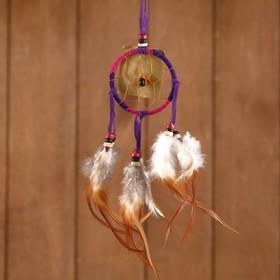 Ловец снов 'Гармония' розово-сиреневый (коричневые перья) 6х0,5х20 см Ош