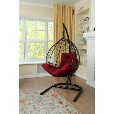 Подвесное кресло «Бароло», капля, цвет коричневый, подушка бордо, стойка - Фото 1