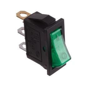 Клавишный выключатель, 250 В, 15 А, ON-OFF, 3с, зеленый, с подсветкой, розничная упаковка. Ош