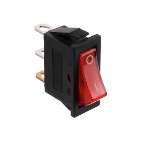 Клавишный выключатель, 250 В, 15 А, ON-OFF, 3с, красный, с подсветкой, розничная упаковка. Ош