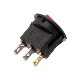 Клавишный выключатель круглый, 250 В, 6 А, ON-OFF, 3с, красный, с подсветкой,розн. упак. Ош
