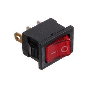 Клавишный выключатель, 250 В, 6 А, ON-OFF, 3с, красный, с подсветкой, розничная упаковка. Ош