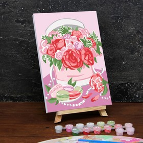 Картина по номерам на холсте с подрамником «Букет в шляпной коробке» 20×30 см