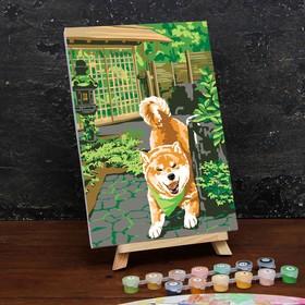 Картина по номерам на холсте с подрамником «Сиба-ину» 20×30 см