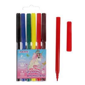 Фломастеры 6 цветов deVENTE Unicorn, вентилируемый колпачок, в пластиковом блистере Ош