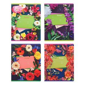 Тетрадь 12 листов в клетку «Цветочная», обложка мелованный картон, МИКС