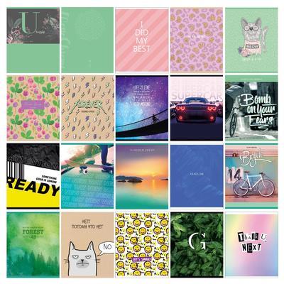 Тетрадь 48 листов в клетку, на скрепке Super Mix-20, обложка мелованный картон, блок офсет, МИКС - Фото 1