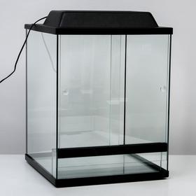 Террариум с раздвижными дверцами 80 л, черный 40х40х50 см Ош