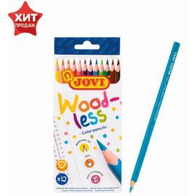 Карандаши пластиковые 12 цветов JOVI Wood-less, трёхгранные, заточенные, в картонной коробке с европодвесом