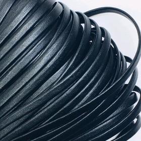 Шнур декоративный, кожзам, 4 мм, цвет чёрный
