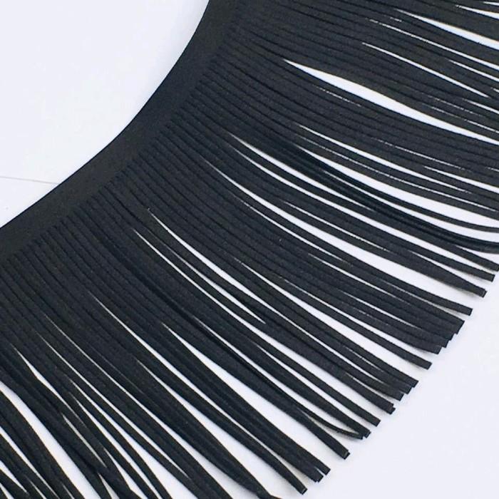 Бахрома декоративная, 14,5 см, цвет мокрый асфальт