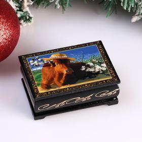 Шкатулка «Корова в шляпке», 6х9 см, лаковая миниатюра Ош
