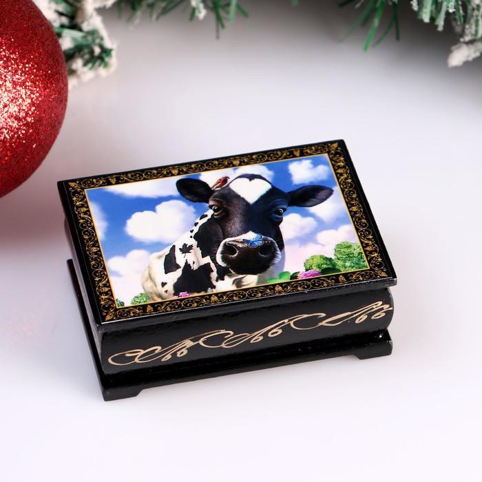 Шкатулка «Корова. Небо», 6х9 см, лаковая миниатюра