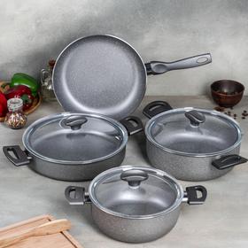 УЦЕНКА Набор посуды Optimum, 4 предмета: кастрюля 2,5 л (d=20 см), 3,9 л (d=24 см), 4,2 л (d=26 см), сковорода d=26 см