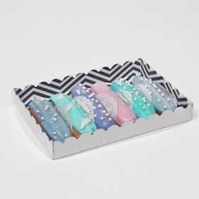 """Коробочка для печенья с PVC крышкой """"ЗигЗаг"""", белая, 22 х 15 х 3 см"""