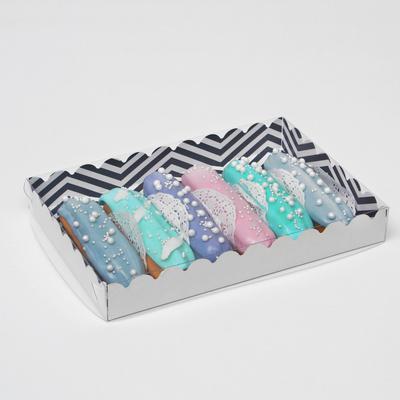 """Коробочка для печенья с PVC крышкой """"ЗигЗаг"""", белая, 22 х 15 х 3 см - Фото 1"""