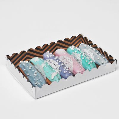 """Коробочка для печенья с PVC крышкой """"ЗигЗаг"""", крафт, 22 х 15 х 3 см - Фото 1"""