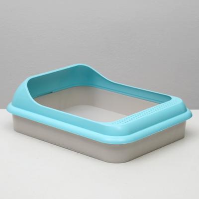 """Туалет """"Мур-мяу"""" для кошек, с рамкой, голубой - Фото 1"""