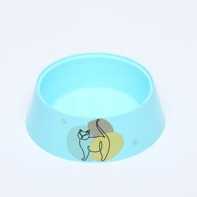 """Миска """"Мур-мяу"""" для кошек, 0.3 л, голубая"""