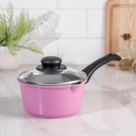 Ковш Casta Color, 1,3 л, стеклянная крышка, цвет розовый