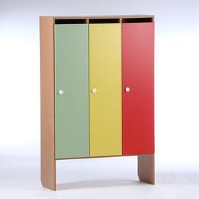 Шкаф для одежды 904х340х1420 (3-мест), ЛДСП, корпус - бук, фасады - цветные Ош