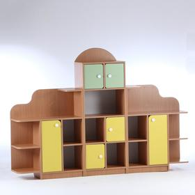Стенка для игрушек 'Антошка' 2000х300х1400, ЛДСП, корпус - бук, фасады - цветные Ош