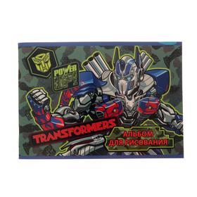 Альбом для рисования А5, 40 листов на скрепке Transformers, обложка мелованный картон, УФ-лак