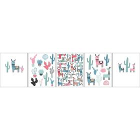 Тетрадь 48 листов в клетку «Ламы и кактусы», обложка мелованный картон, тиснение фольгой, конгрев, блок офсет 70 г/м2, МИКС