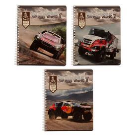 Тетрадь 48 листов в клетку на гребне Dakar, обложка мелованный картон, двойной УФ-лак, блок офсет, МИКС