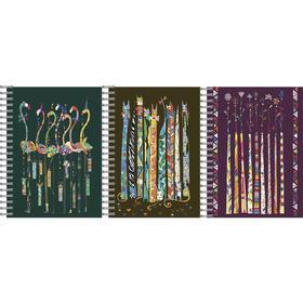 Тетрадь 48 листов в клетку на гребне Turnowsky, обложка мелованный картон, металлизированный, УФ-лак, блок офсет, МИКС