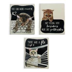 Тетрадь 60 листов в клетку, на гребне «Забавный кот», обложка мелованный картон, двойной УФ-лак, блок офсет, МИКС