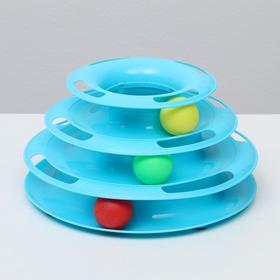 Игровой комплекс для кошек с 3 шариками, микс цветов