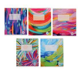 Тетрадь 12 листов в линейку Jewel, обложка мелованный картон, двойной УФ-лак, блок офсет, МИКС
