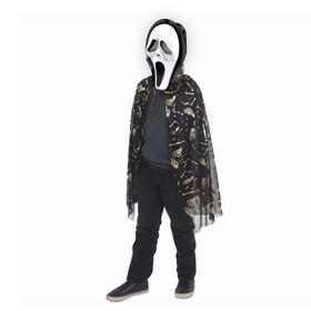 Карнавальный плащ «Кисти рук», золото на чёрном, маска, декор цепь, длина 73 см Ош