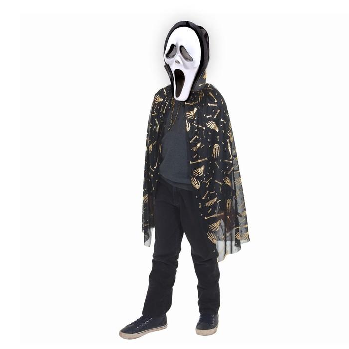 Карнавальный плащ Кисти рук, золото на чёрном, маска, декор цепь, длина 73 см