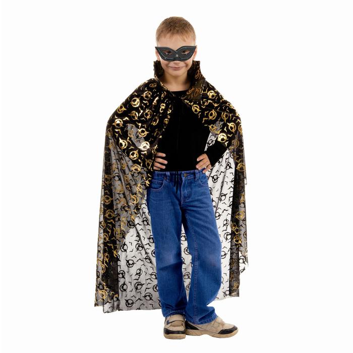 Карнавальный плащ Летучие мыши в кольце, золото на чёрном, маска, длина 75 см