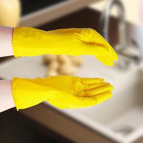 Перчатки хозяйственные резиновые, размер S, цвет жёлтый Ош