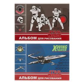 Альбом для рисования А4, 40 листов на склейке Star Wars, обложка мелованный картон, двойной УФ-лак, конгрев, блок офсет, МИКС