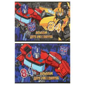 Альбом для рисования А4, 40 листов на склейке Transformers, обложка мелованный картон, двойной УФ-лак, блок офсет, МИКС